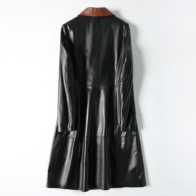 100% abrigo de pelo auténtico de oveja para mujer, chaqueta de piel auténtica, abrigo largo y ajustado para mujer, ropa de abrigo, chaqueta de cuero LX1929