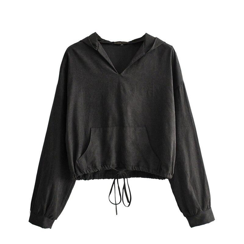 Черные толстовки весна-осень 2021, Модные свободные женские пуловеры, черные толстовки с кулиской и карманами-кенгуру, 2021