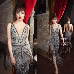 2020 Tassel Prom Dresses Deep V Neck Lace Appliqued Beading Vestido De Festa Ankle Length Sparkly Evening Dress