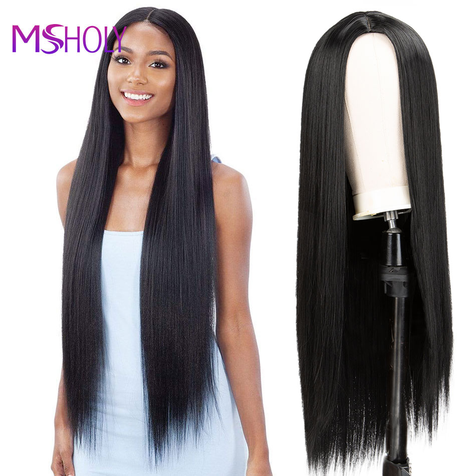 Long Straight Black Wig Synthetic Hair Wig With Bangs Red Burgundy Pink Ombre 613 Blonde Long Hair Wigs for Women Msholy