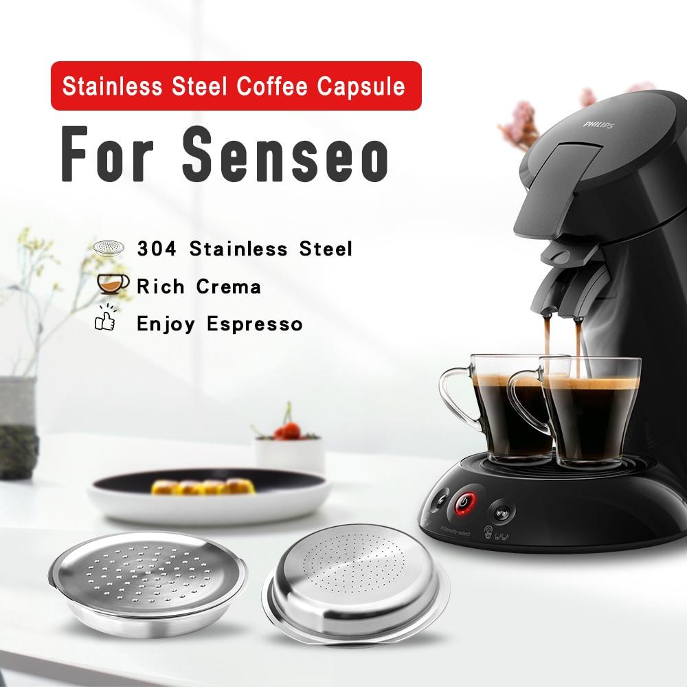ICafilas-cápsula reutilizable de acero inoxidable para máquina de café Senseo, sistema Philips...