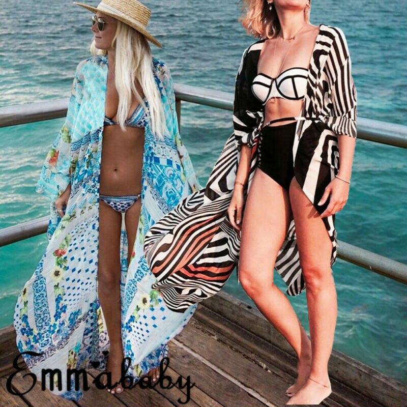 Stylish Women Swimwear Casual Bikini Cover Up Beachwear Kaftan Summer Beach Long Maxi Dress One Size