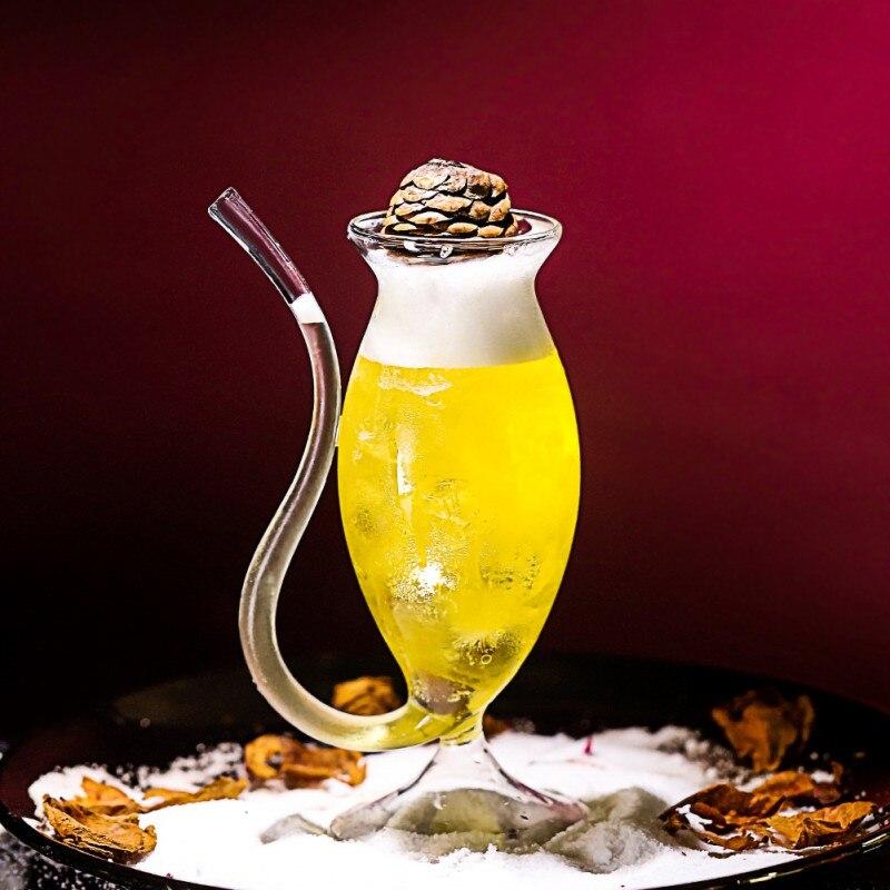 Taza vaso para jugo de vino de 300ml con tubo para beber incorporado copa de vino de cóctel resistente al calor de 300ml