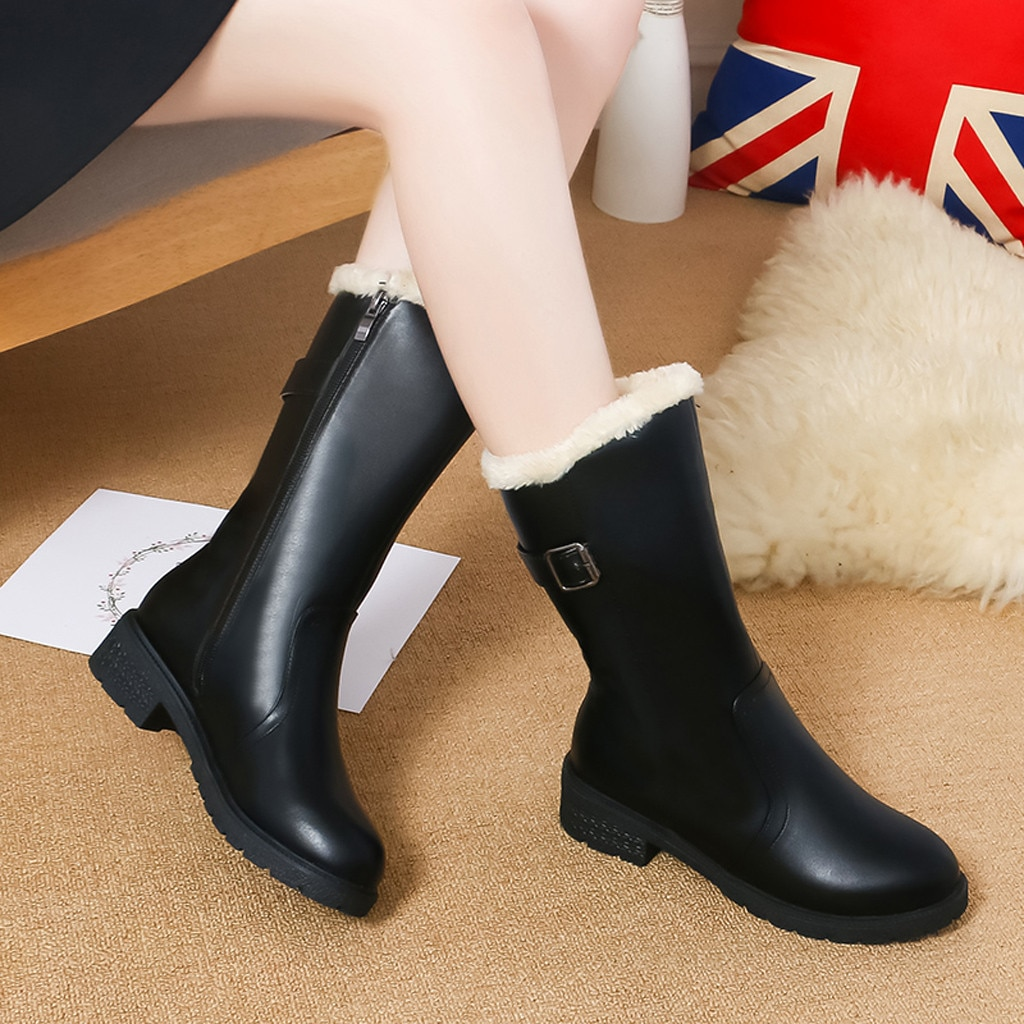 Fivela cinta botas de couro feminino inverno cor sólida meados de bezerro neve chuva senhoras calçado manter quente sapatos de inverno botines mujer 2019