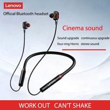 Lenovo słuchawka 4-głośnik Bluetooth5.0 bezprzewodowy zestaw słuchawkowy z pałąkiem na kark słuchawki IPX5 wodoodporny sportowe słuchawki douszne z redukcją szumów