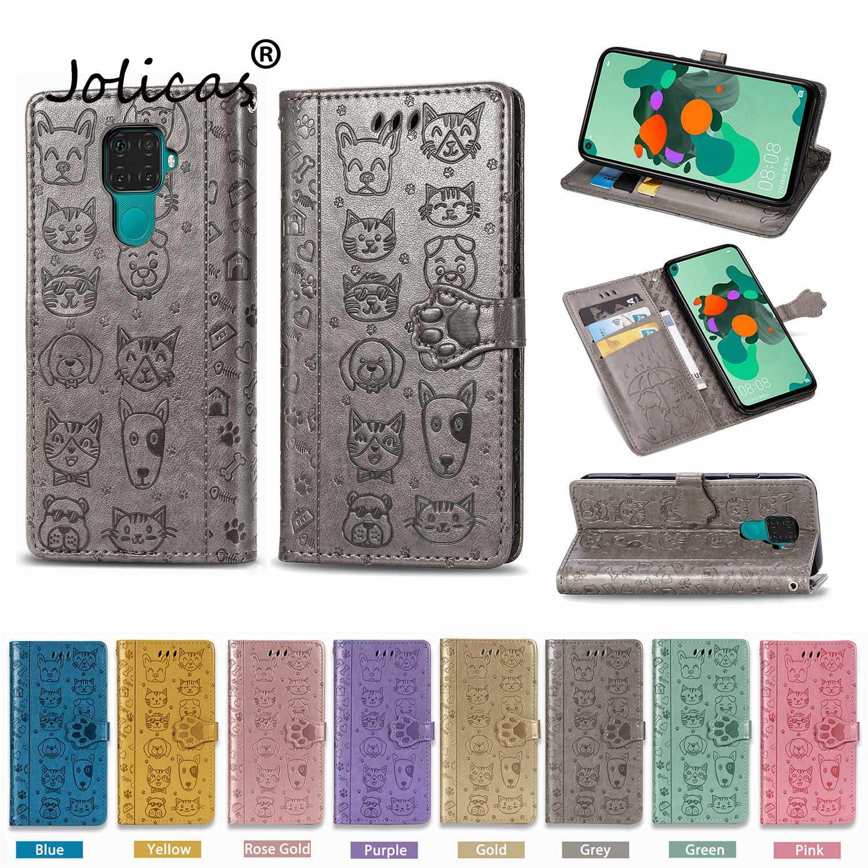 Cat Flip Wallet Book Case For Huawei Mate 30 Pro Covers Huawei Nova 5T 4E Y9 Prime 2019 P Smart Z P30 P40 Lite Honor 20S 20 Plus