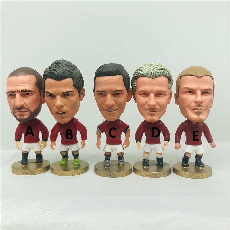 Soccerwe 6.5cm altura futebol mini bonecas eric c. ronaldo sanchez david figuras vermelho