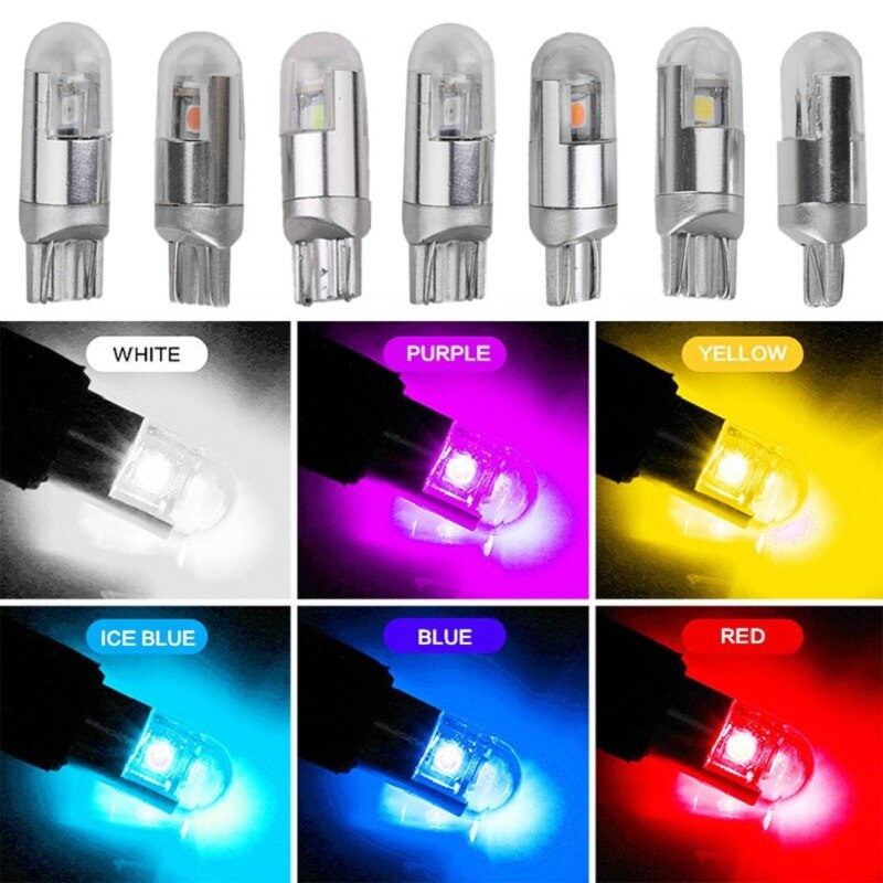 10 pcs canbus 3030 2smd t10 w5w led car bulb 12V white yellow color interior led clearance light 6000k 194 license plate lights xigyte t10 led car w5w light bulb t10 12v car accessories interior light 6000k white clearance light for car styling motorcycle