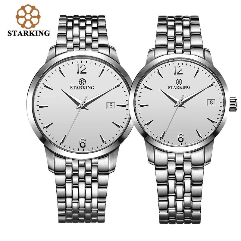 STARKING Lover's Watches 2019 Fashion Branded 316l Stainless Steel  5atm Waterproof Auto Date Male/Female Automatic WristWatch