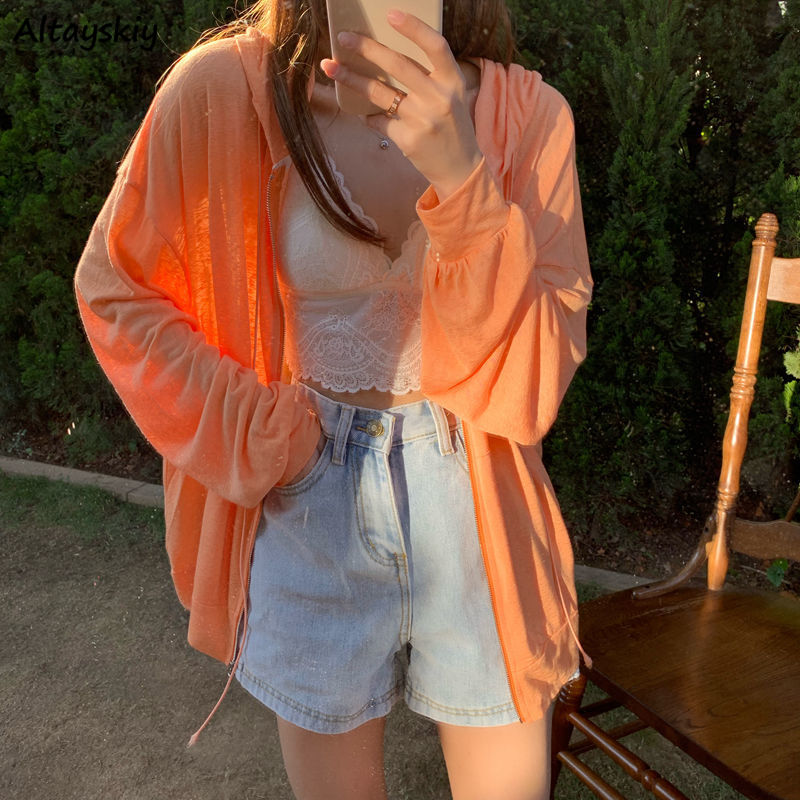 Basic Jackets Women Loose 3 Colors Simple Summer Sun-proof Solid Thin College Outwear Popular Basic