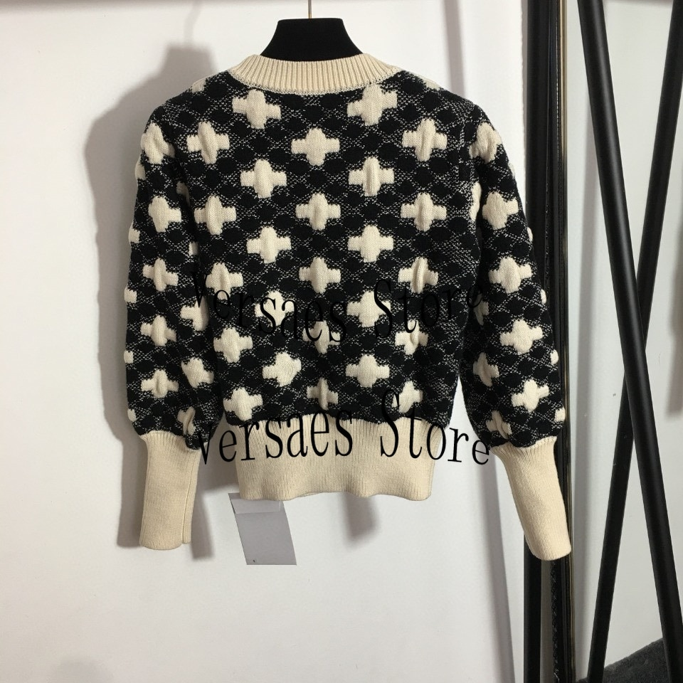 luxury design high quality pattern fashion women's round neck long sleeve Pullover Sweater temperament versatile loose sweater enlarge