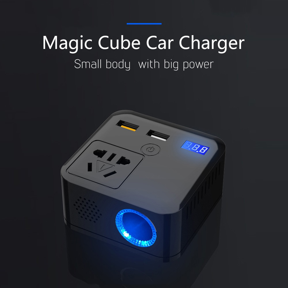 12/12-24V a 220V 150W inversor de coche QC3.0 cargador rápido USB convertidor de potencia de hogar convertidor inteligente de onda sinusoidal multifunción