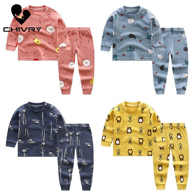2018 new spring children girls clothing sets mouse early autumn clothes bow tops t shirt leggings pants baby kids 2 pcs suit 2020 New Kids Boys Cotton Pajama Sets Cartoon Print O-Neck Cute T-Shirt Tops with Pants Baby Girls Children Autumn Clothes Sets