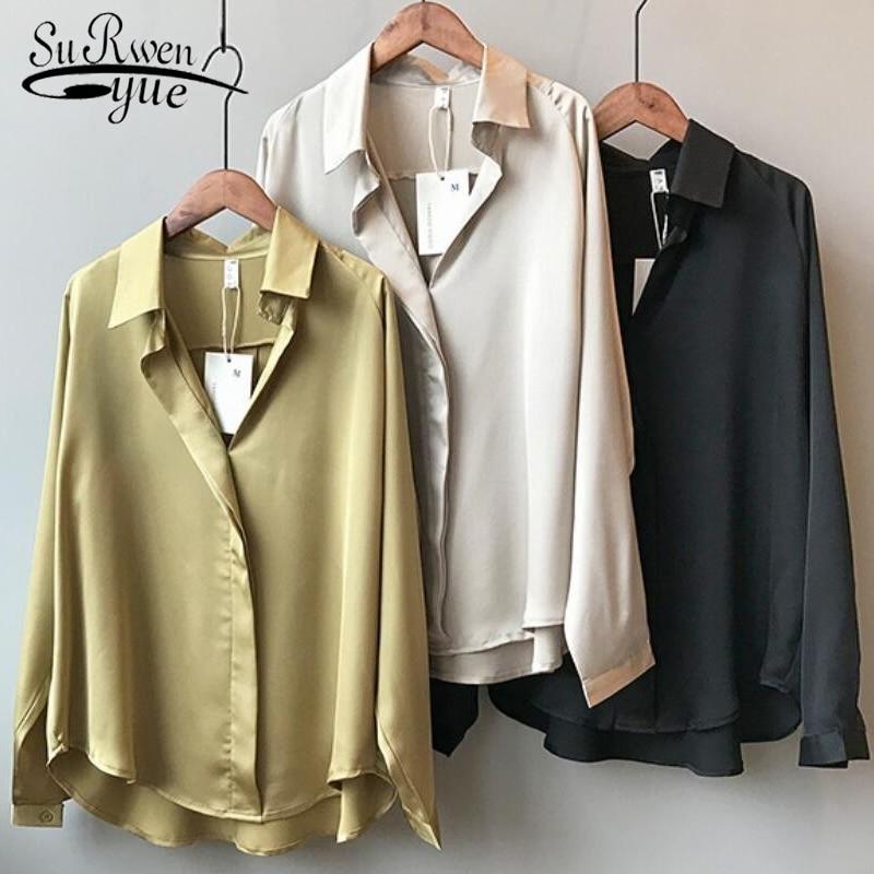 2021 Summer Shirt Fashion Long Sleeve Satin Women's Shirt Vintage Street Silk Shirts Elegant Imitation Blouses and Shirts 5273