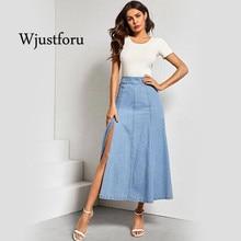 Wjustforu, летняя Модная элегантная джинсовая юбка с разрезом, женское повседневное Ретро светло-голубое длинное платье, сексуальное свежее и м...
