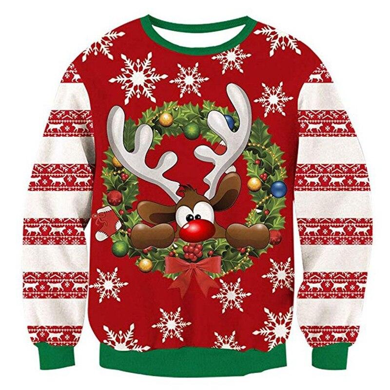 2020 camisola de natal 3d antler impressão novidade feio camisola de natal unisex das mulheres dos homens pulôver de manga longa camisola