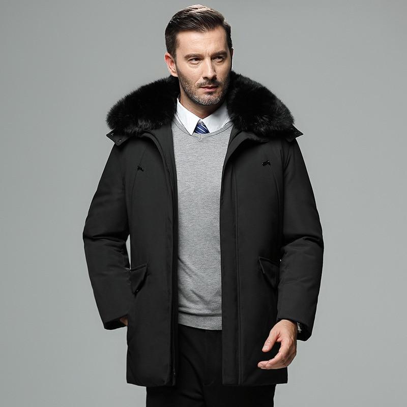 Зимняя мужская белая куртка на утином пуху со съемным меховым воротником, Толстая теплая длинная мужская куртка-пуховик, однотонная Повсед...