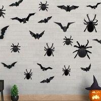 12 шт./компл. украшение на Хэллоуин, 3D черные наклейки на стену летучая мышь, наклейки для дома, вечеринки, комнаты «сделай сам», страшный деко...