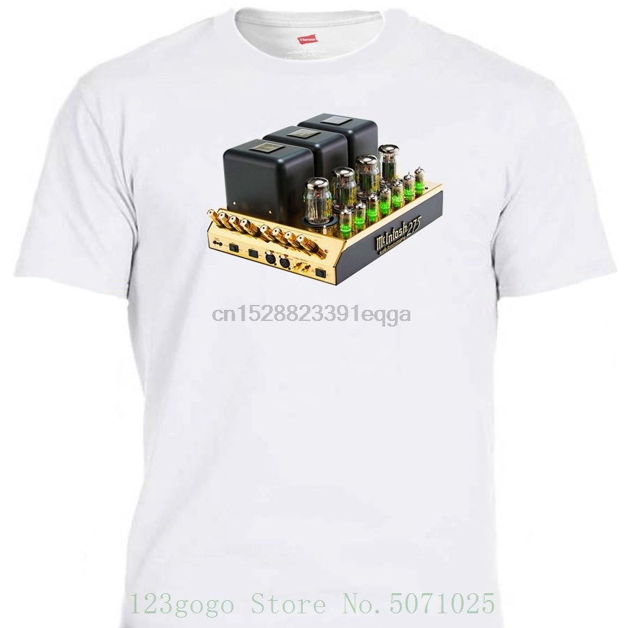 Mcintosh 275 tubo amp único branco macio algodão t camisa todos os tamanhos t-302wht l @ k estilo solto anime camiseta