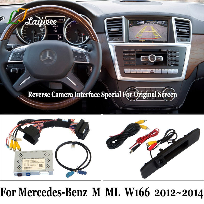 For Mercedes-Benz M ML W166 2012 2013 2014 Reverse Camera Kit / HD Rearview Parking Camera Update OEM Screen No Need Programming
