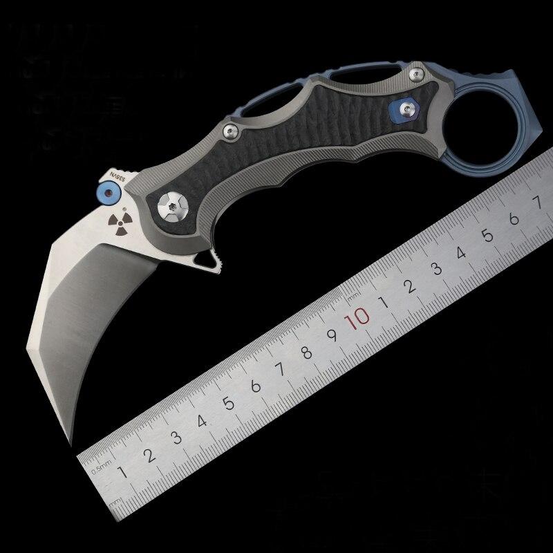 Cuchillo plegable de acero en polvo S35VN... cuchillo plegable de gran dureza...