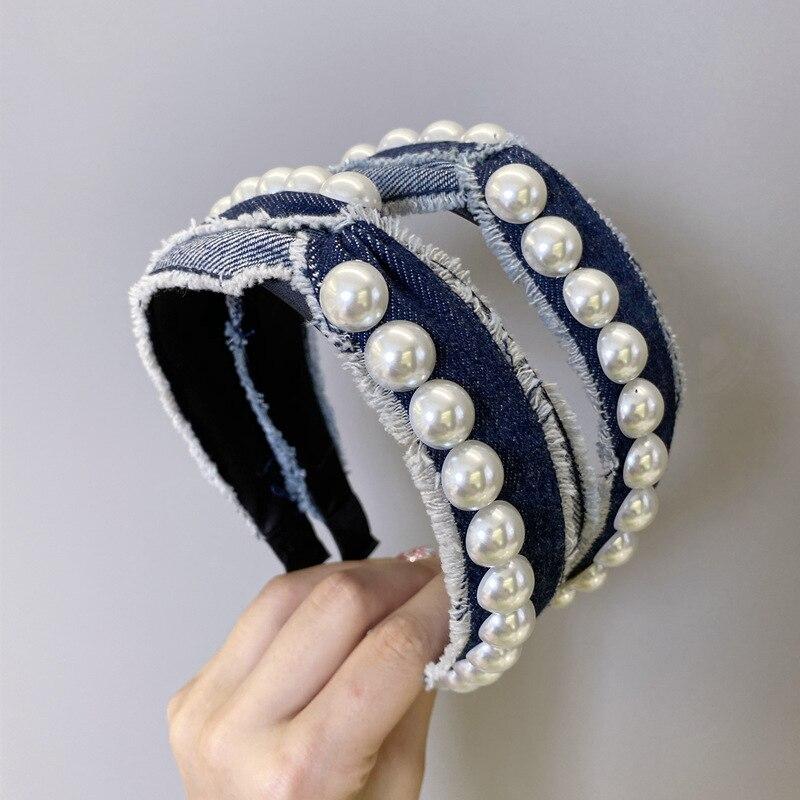 Vintage Quasten Perle Denim Lünette Haar Band Frauen Stirnbänder Mädchen Haar Zubehör opaska tun wlosow Hoop Haar Clips Haarband