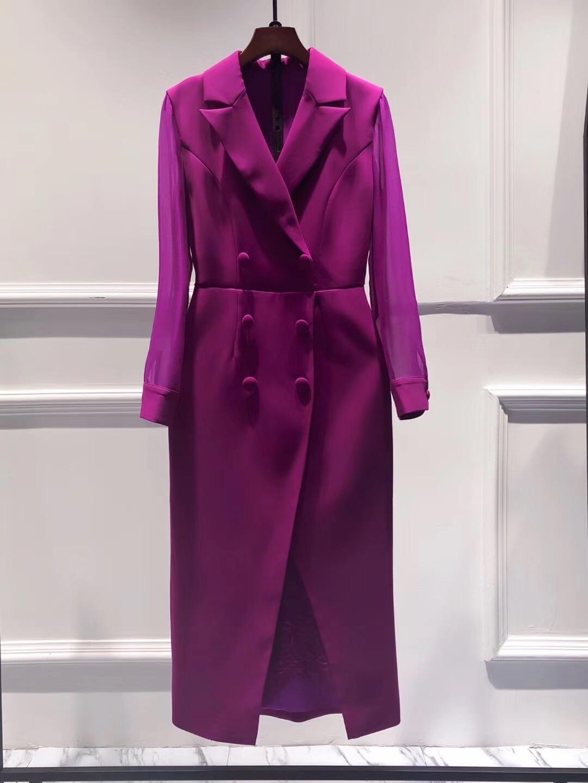 جديد 2021 فستان بليزر حريمي مقاس كبير فستان بأكمام طويلة بصفّي أزرار جودة عالية أرجواني أسود ميدي مثير فساتين بقلم الرصاص