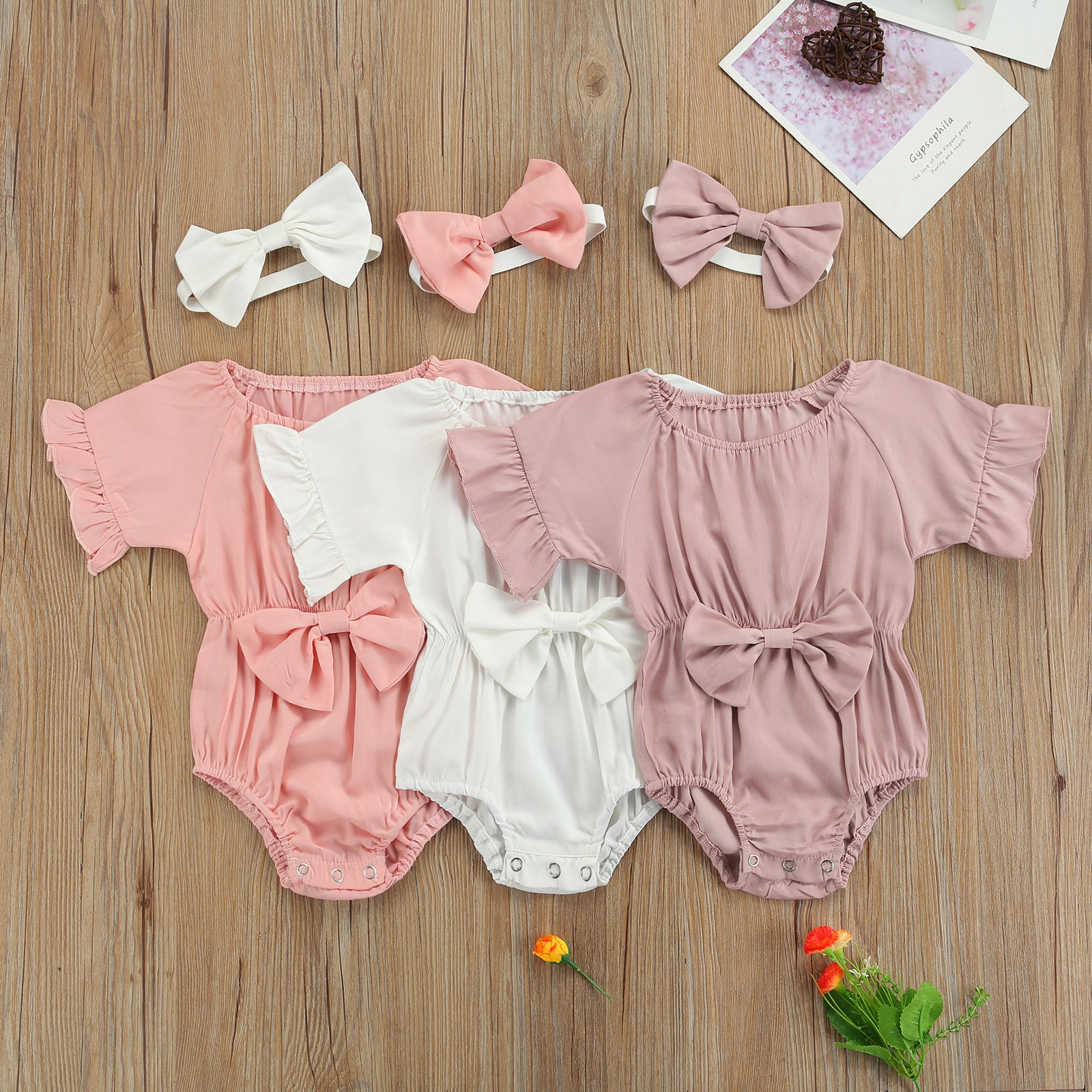 OPPERIAYA 2Pcs Newborn Summer Outfits Toddler Baby Girls Solid Color Round Neck Ruffle Sleeve Bodysuit Headband with Bowknot