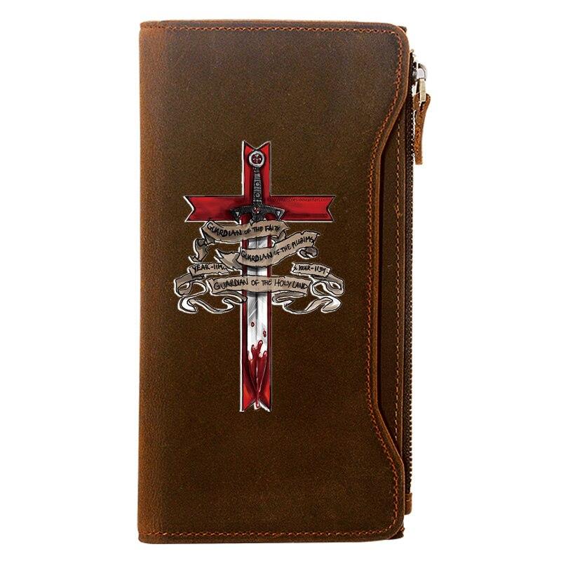 Vintage عبر السيوف حامل بطاقة الائتمان حزمة جلد طبيعي سستة محفظة الرجال طويلة مخلب محفظة هدية