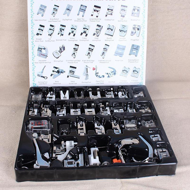Sastre máquina de coser Toyota tejido de costura Kit accesorios pies Set 32 Uds prensatelas Janome Singer