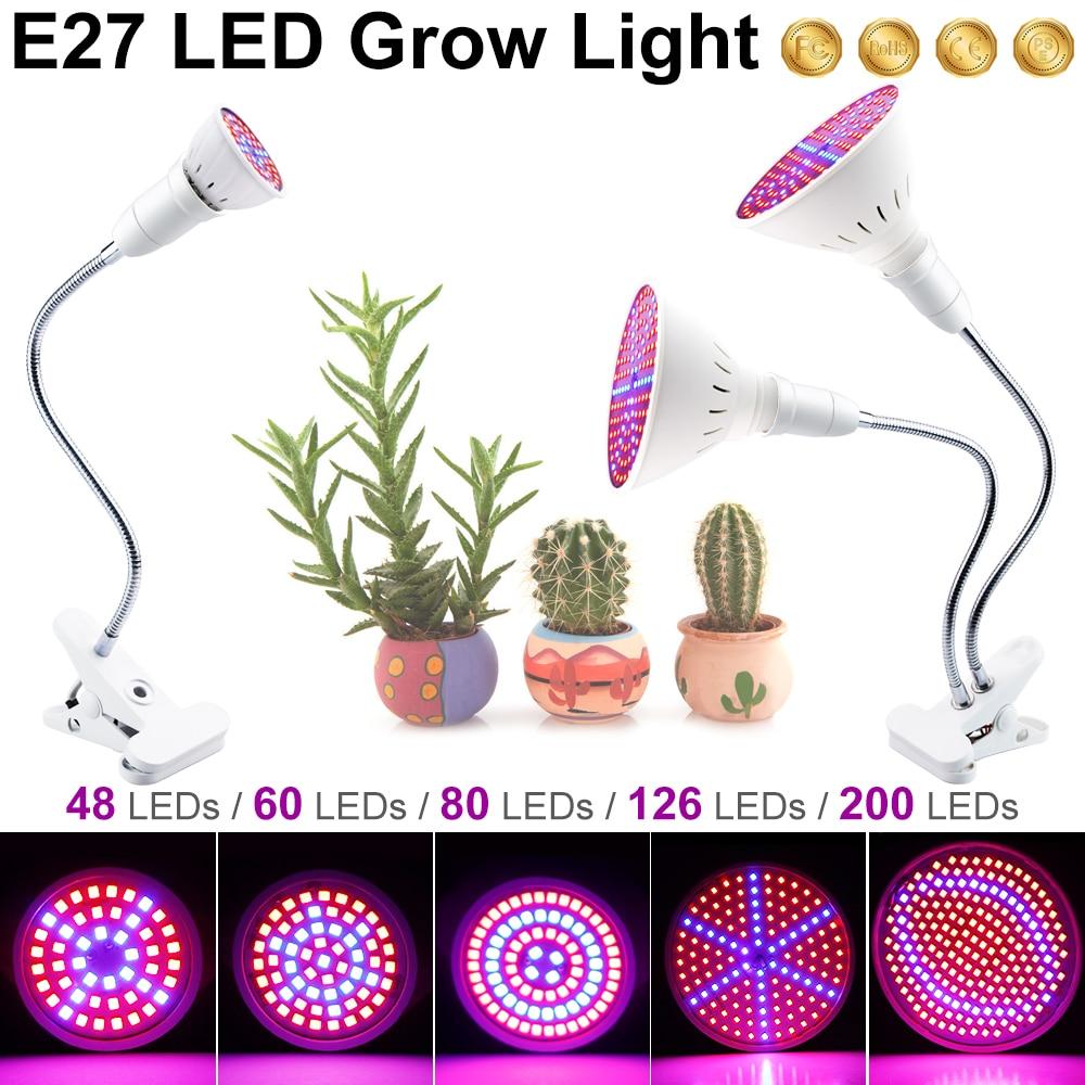 Lámparas de Cultivo LED Clip de lámpara Flexible de luz de crecimiento de Plantas LED 3W 5W 7W 15W 20W caja de cultivo hidropónico tienda de cultivo
