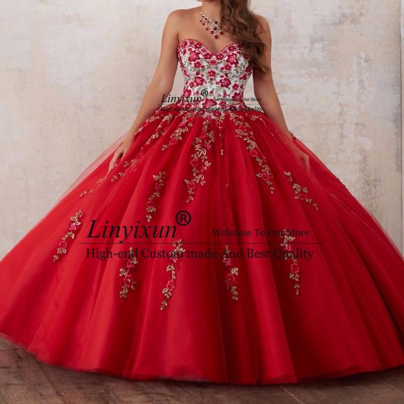 Красные платья с вышивкой для Quinceanera 2020 из тюля бисером и кристаллами 15 летних