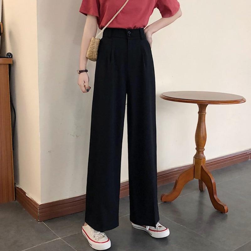 Black Pants Women's Summer 2021 New Korean Style Loose Drooping Wide-Leg Casual Pants High Waist Sli