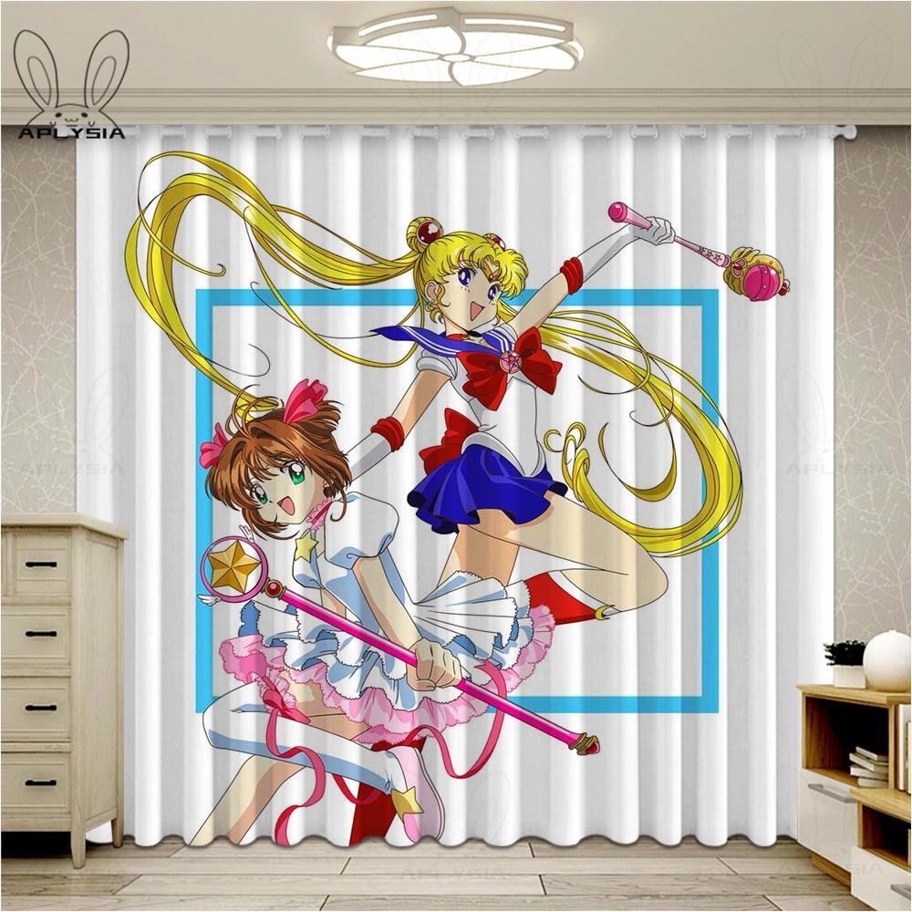 Cortinas Sakura Cardcaptor para ventana de dibujos animados para niños, sala de estar, Cortinas de dormitorio, Cortinas oscuras para sala de estar, Cortinas