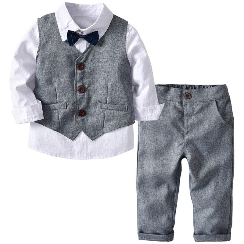 Conjunto infantil de casamento para meninos, roupas formais para crianças roupa infantil colete cinza + calças para meninos roupas