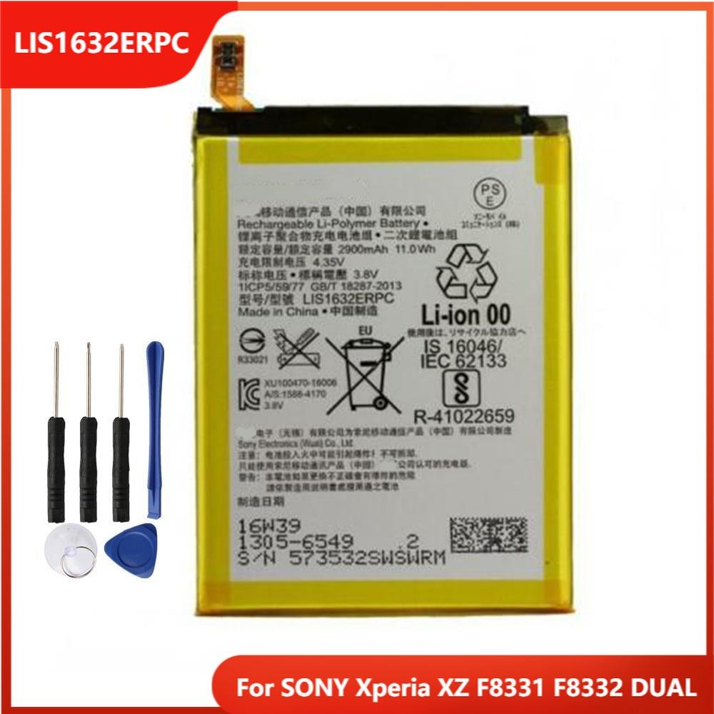Оригинальный сменный аккумулятор для телефона LIS1632ERPC для SONY Xperia XZ F8331 F8332 двойные перезаряжаемые батареи 2900 мАч с бесплатными инструментами