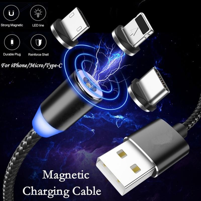 1M LED magnético Cable USB para iPhone Xs Max 8 7 6 y USB de tipo C y Cable Micro USB Cable para Samsung Xiaomi Huawei coche de Cable de teléfono