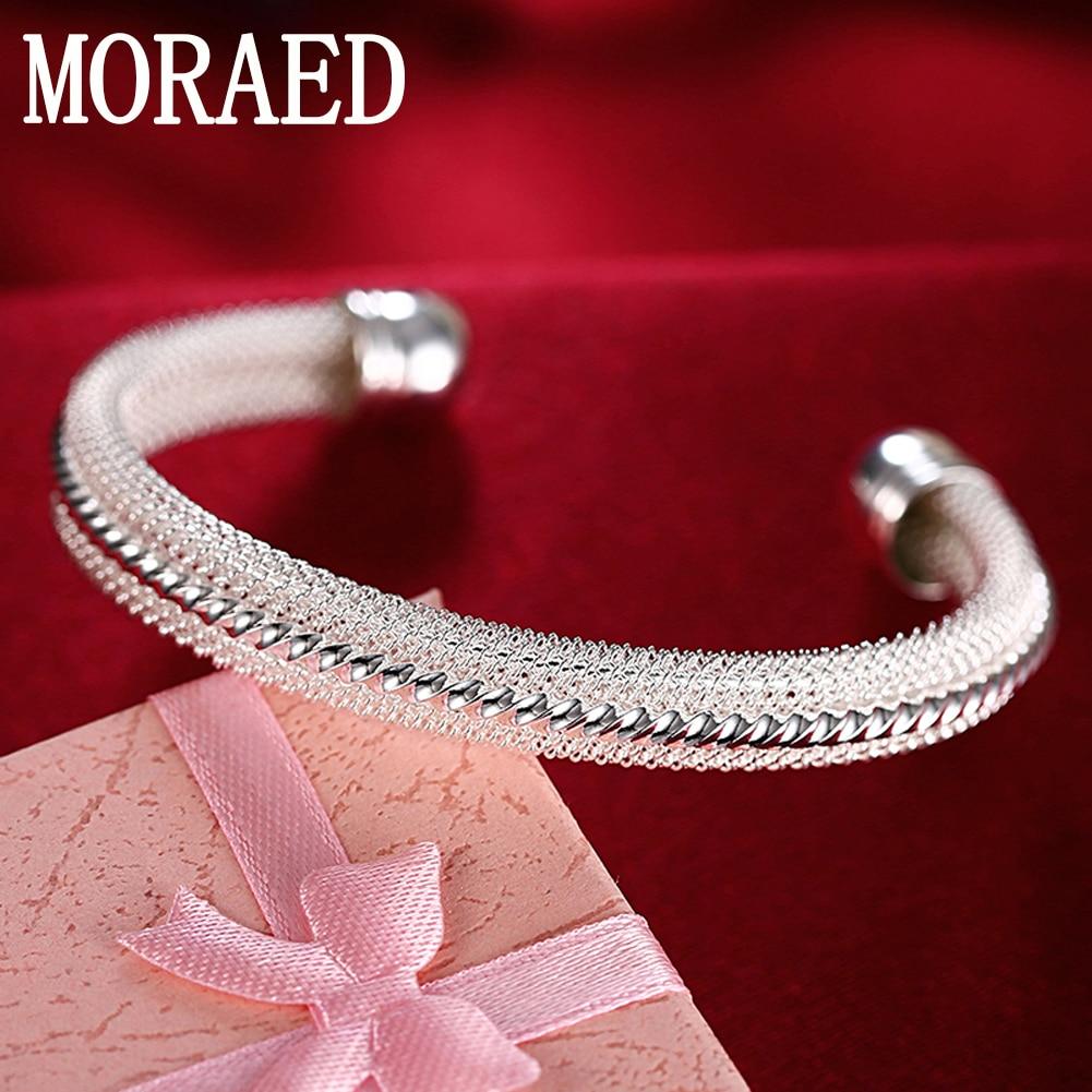 Оптовая цена 925 стерлингового серебра браслеты манжетного типа браслет для женщин Свадебные обручальные кольца подарок серебряные ювелирн...