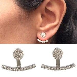 Nowy pełny kryształ słowo okrągły przednie i tylne uniwersalna biżuteria osobowość moda proste Trend modele wybuchu Punk wiatr kolczyk