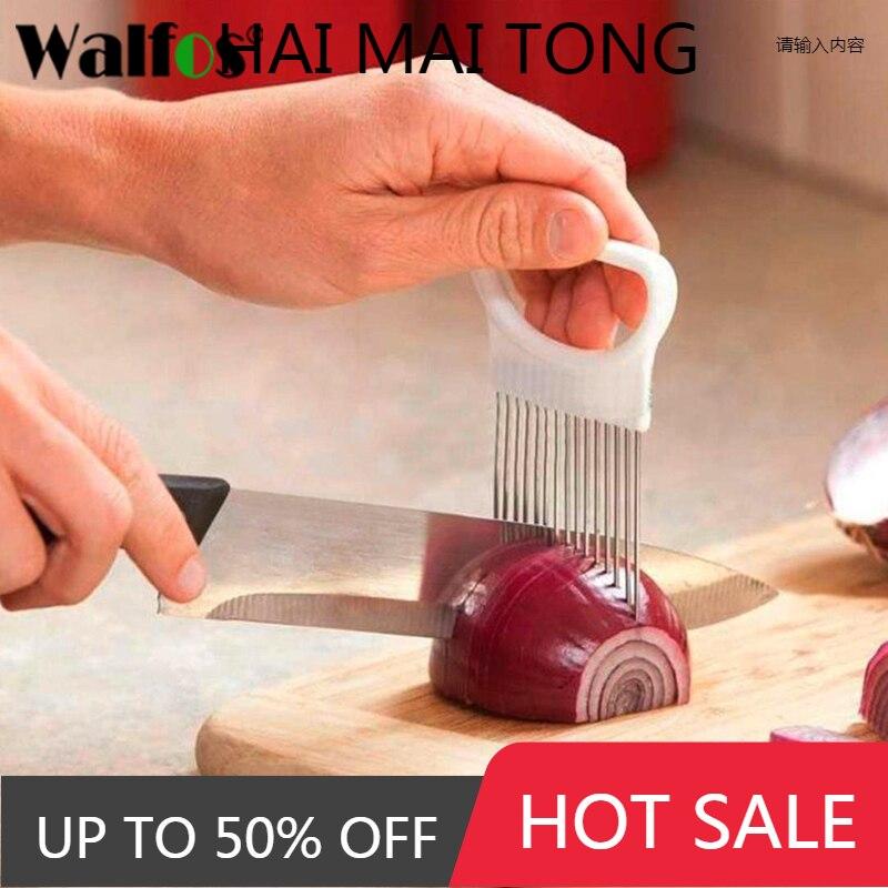 WALFOS سهلة قطع حامل البصل شوكة الفولاذ المقاوم للصدأ البلاستيك الخضار تقطيع الطماطم القاطع المعادن اللحوم إبرة الأدوات اللحوم Frok