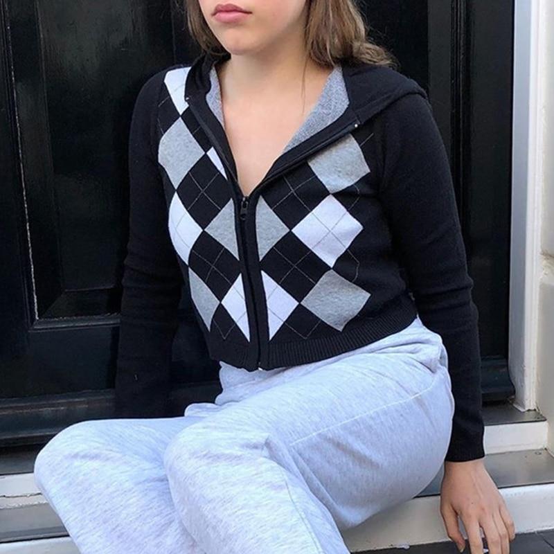 Women Long Sleeve Hoodies Cardigan Argyle Plaid Knitted Zipper Crop Sweater Coat enlarge