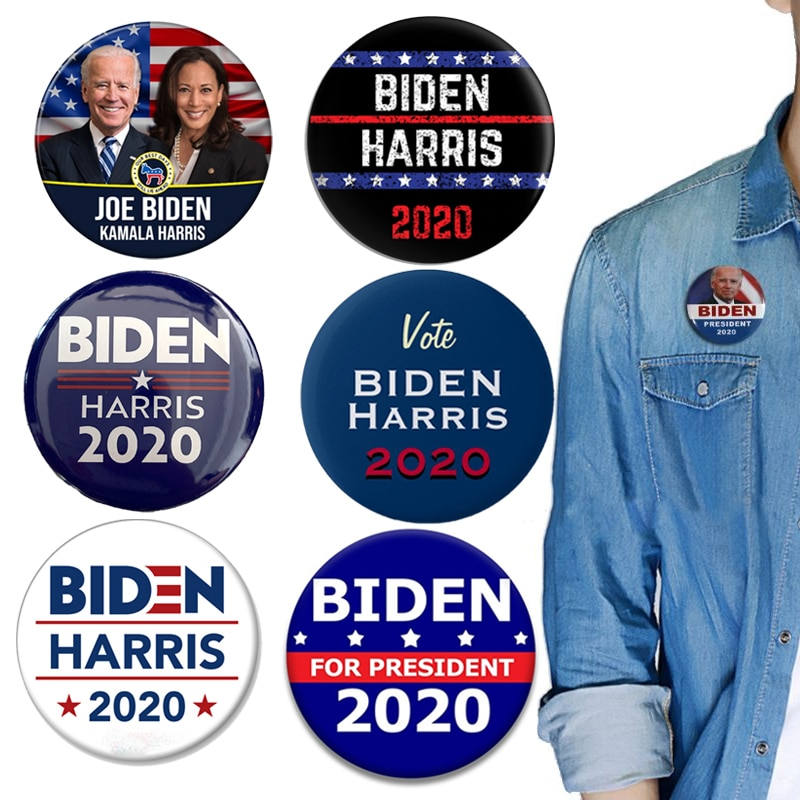 Joe biden kamala harris para o presidente bandeira americana 2.28 Polegada pinos botão broche unissex