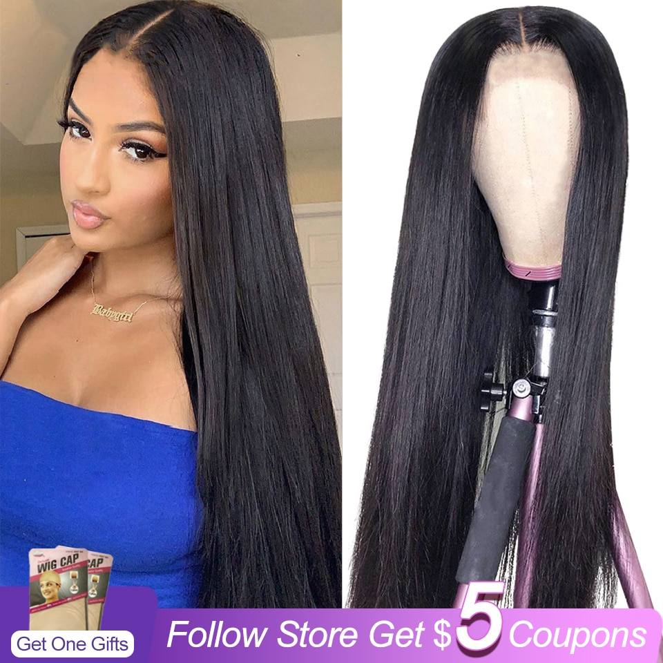 Straight HD 13x6x1 T Part Lace Wigs Brazilian Remy Natural Color Human Hair Lace Wigs For Black Women Pre Plucked With Baby Hair maxglam lace front human hair wigs for black women straight pre plucked with baby hair brazilian remy hair natural color