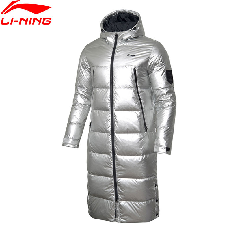 Li-Ning Men Badminton Hooded Long Down Coat 70%White Duck Down Regular Fit LiNing li ning Winter Warm Sport Coats AYMP125 MWY322