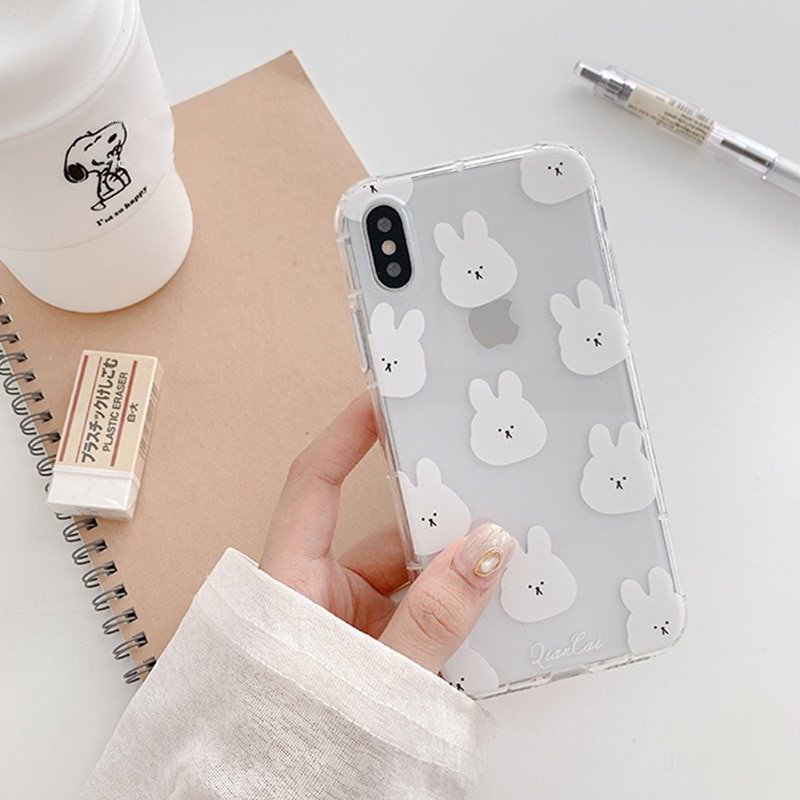 Carcasa coreana teléfono con bonito conejo de dibujos animados para iPhone 11 Pro Max XR X Xs Max 7 8 6 6S Puls fundas funda trasera suave TPU transparente