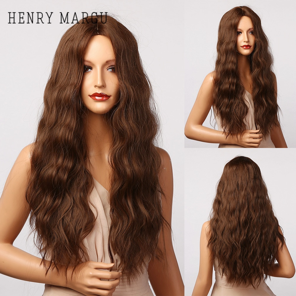 HENRY MARGU Dark Brown Ombre Water Wave Synthetic Wigs for Women Long Natural Daily Wig Middle Part Cosplay Wigs Heat Resistant
