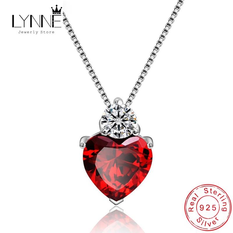Fine 925 Sterling Silver Red AAA Zircon Shine Heart Shaped Pendant Necklace Women Wedding Jewelry Rhinestone CZ  Necklaces Gift