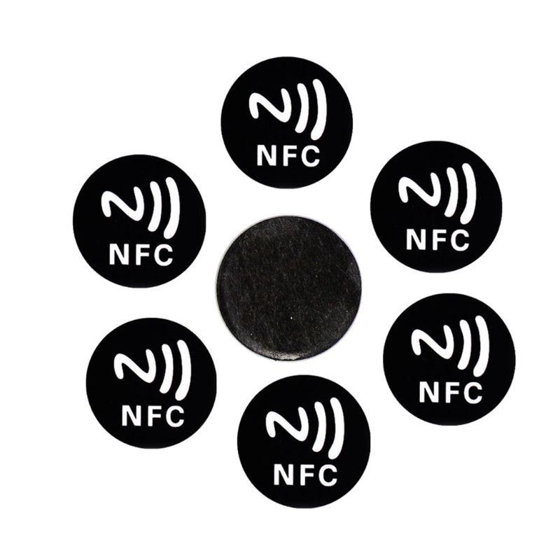 Autocollant universel Anti-métal noir, jeton détiquette pour téléphones intelligents, NFC Ntag213, NTAG 213, 6 pièces