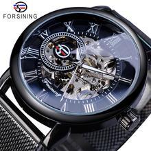 Forsining rétro Design de mode squelette Sport montre mécanique lumineux mains Transparent maille Bracelet pour hommes haut de gamme de luxe