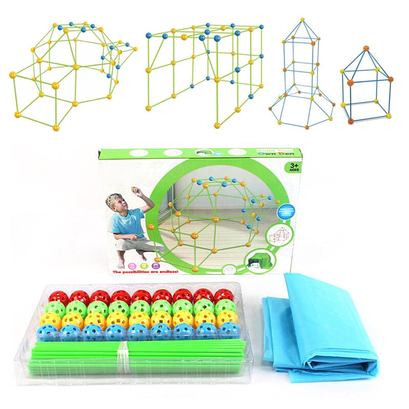 New Kids Construction Fort Building Castles Tunnels Tents Kit DIY 3D Play House Building Toys For Boys Girls Gift Pre-sale